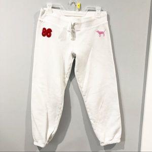 Pink Victoria's Secret white joggers sweatpants